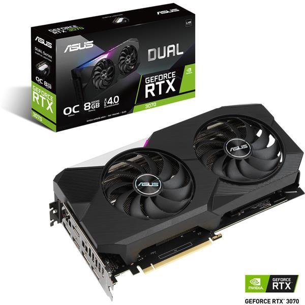 Placa de Video Asus Nvidia Geforce RTX 3070 Dual OC 8GB GDDR6 V2 LHR