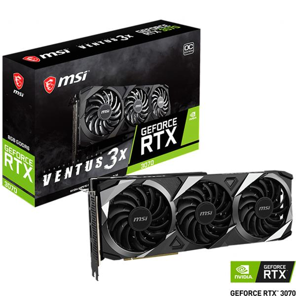 Placa de Video MSI Nvidia Geforce RTX 3070 Ventus 3X OC 8GB GDDR6 LHR