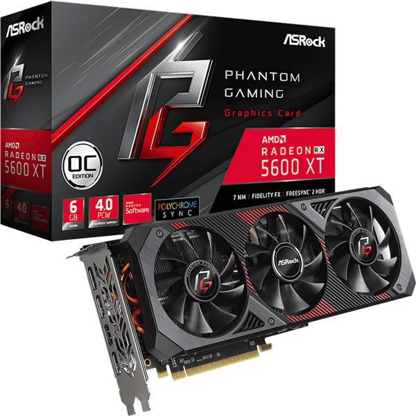 Placa de Video Asrock Rx 5600 XT PHANTOM GAMING D3 OC 6GB GDDR6
